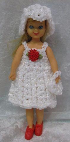 """TUTTI, Chris & Buffy 6"""" Doll Clothes #14 Handmade Crochet Dress, Hat & Purse Set #HandmadebyESCHdesigns"""
