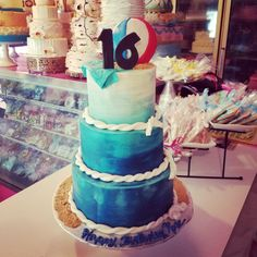 Beach themed buttercream ombre sweet 16 cakewww.facebook.com/carinaedolce  #carinaedolce www.carinaedolce.com Beach Themes, Sweet 16, Facebook, Cake, Pie Cake, Sweet Sixteen, Cakes, Cookies, Cheeseburger Paradise Pie