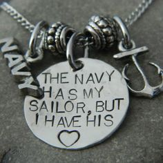 The Navy Has My Sailor But I have His Heart Anchor Necklace via Etsy Proud Navy Girlfriend, Navy Boyfriend, Military Girlfriend, Navy Military, Military Homecoming, Military Gifts, Military Spouse, Us Navy Love, Go Navy