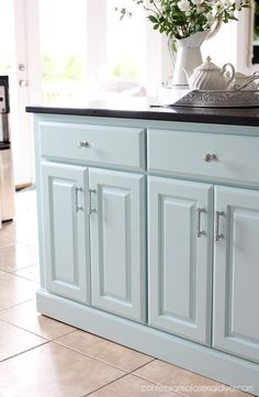 """Are ya'll ready for more kitchen progress? Today I am sharing how I gave our island an update with beadboard to match our """"new"""" kitchen! Kitchen Cabinets Upgrade, Kitchen Island Makeover, Island Kitchen, New Furniture, Furniture Makeover, Fixer Upper, Candles In Fireplace, Old Kitchen, Kitchen Ideas"""