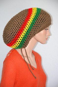 f625b5477ea Crochet Mega Rasta Tam  XL Dread Tam  Unisex XL crochet tam