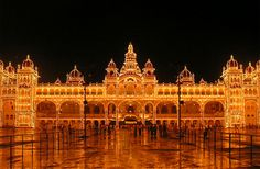 In India - the spectacular Mysore Palace which is illuminated on Saturdays and Sundays. During festivals such as Diwali the palace is lit up every night.