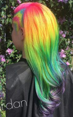 Yellow green rainbow dyed hair @pinupjordan