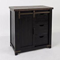 Barn Door Accent Cabinet in Vintage Black [ID 817017029951 Metal Barn, Barn Wood, Jofran Furniture, Madison County, Black Cabinets, Wood Dust, Cabinet Colors, Colorful Furniture, Barn Door Hardware