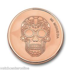 """Mi Moneda stainless steel with gold plated skull & fire moneda - Medium. Reverse side says, """"Sky above me, earth below me, fire within me. Fraser Hart, Skull Fire, Halloween Jewelry, Jewelry Branding, Branded Jewellery, Pandora Jewelry, Rose Gold Plates, Fashion Jewelry, Gold Fashion"""