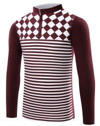 f7b3dc6727e Spring Autumn New Style Stripe design slim Fit Mens Polo Shirt Stand collar  long sleeve Casual Business Shirt Plus Size