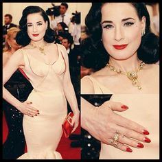 Dita Von Teese's gold and diamond vintage Van Cleef and Arpels jewels at the 2014 Met Gala. Met Gala Outfits, Jessica Pare, Black Lace Gown, Diy Jewelry Tutorials, Celebrity Jewelry, Sleek Hairstyles, Pink Gowns, Vintage Vans, Dita Von Teese
