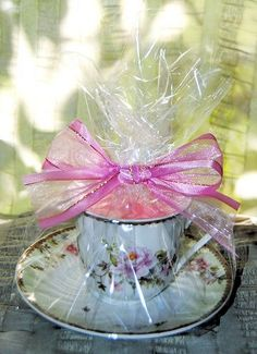 Our full-size Floral Porcelain Tea Cup Candles come Gift Wrapped and ready to give! They are very lightly scented with a floral blend and the soy wax burns beautifully. When the candle is gone, a quic