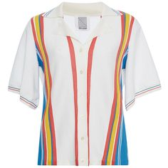Rosie Assoulin     Multi Colored Bowling Stripe Knit Top ($1,395) ❤ liked on Polyvore featuring tops, stripe, white short sleeve top, white stripes shirt, white knit shirt, stripe top and multi colored striped shirt