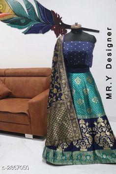 Lehengas Elegant Women's Lehenga Fabric: Lehenga - Jacquard Choli - Taffeta Silk Dupatta - Banarasi Silk  Size: Lehenga (Waist Size) - Up To 36 in Choli - 0.80 Mtr Dupatta - 2.2 Mtr  Length: Lehenga - Up To 40 in Flair: Lehenga - 2.8 Mtr Type: Lehenga - Semi - Stitched Choli - Un - Stitched Description: It Has 1 Piece Of Lehenga 1 Piece Of Choli & 1 Piece Of Dupatta Work: Lehenga - Jacquard Work Choli - Printed Dupatta - Jacquard Work Country of Origin: India Sizes Available: Un Stitched, Free Size, Semi Stitched   Catalog Rating: ★4.4 (519)  Catalog Name: Hiba Elegant Women's Lehengas Vol 13 CatalogID_389506 C74-SC1005 Code: 818-2867050-0612
