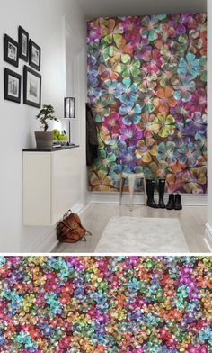 You don't need green fingers to create a dazzling place. Come a little bit closer, you might not feel the scent, but you can see the wonderful surface Botanical Wallpaper, Unique Wallpaper, Habitat For Humanity, Wallpaper Paste, Thinking Outside The Box, All The Colors, Habitats, Color Mixing, Wall Murals
