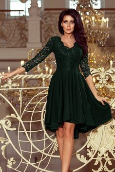 40ca17fa83 Elegant Dark Green 3 4 Sleeves With Longer Back Lace Midi Dress