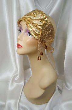 Gold Beaded Lame' 1920s Juliet Cap Phryne by LadyKatherineHats