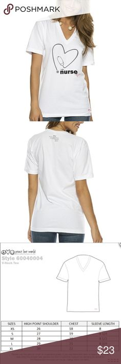 Peace love world I am nurse white V-neck T-shirt Peace love world V-neck white T-shirt, I am nurse with stethoscope design. Size medium. Perfect gift for the nurse you know or for you. See photos for size information and description from PLW website. Peace Love World Tops