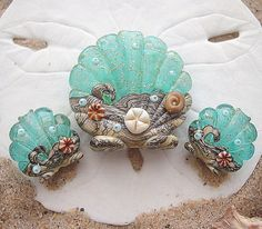 Aqua Water Ocean Scallop Focal plus 2 Matching by artwithheart, $35.00