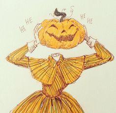Cartoon Kunst, Anime Kunst, Cartoon Art, Cute Halloween Drawings, Halloween Art, Kunst Inspo, Art Inspo, Art And Illustration, Art Drawings Sketches