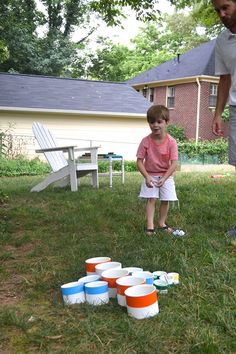 This is one of the simplest DIY backyard games ever. Desginer Beth Barden of designPOST Interiors created this yard pong game from simple PVC pipe and spray paint. And you can see how much her little boy enoys it. Click through for the tutorial (and some excellent outdoor decorating ideas). || @bbarden
