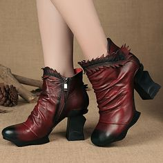 134.00$  Watch here - http://aliyg3.worldwells.pw/go.php?t=32762739221 - Discount Winter Womens Botines Genuine Leather Ankle Boots For Ladies Designer Red Handmade High Heel Shoes Pleated 134.00$