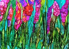 Glads by Cathy Taylor  ~  Alcohol Ink  Http://Ctaylorart.com