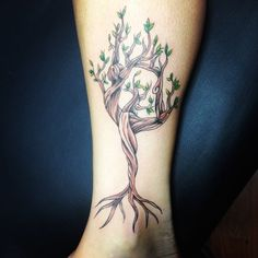 Yogis know that holding dancer's pose requires core strength and discipline to maintain. This tree-inspired tattoo can be a helpful reminder to stay rooted in the earth to hold your balance.
