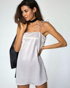 5d21f2da7cf3 Egion Slip Dress in Satin Silver by Motel