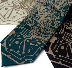 Short Circuit geek tie. Antique brass print men's by Cyberoptix, $30.00