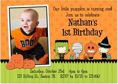 A halloween birthday a 5x7 halloween partybirthday invitation halloween first birthday party invitation idea filmwisefo