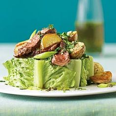 Steak and Potato Salad: A salsa verde dressing is drizzled over slices of grilled ribeye steak and oven roasted potatoes in this salad main dish recipe. Healthy Beef Recipes, Soup Recipes, Great Recipes, Cooking Recipes, Favorite Recipes, Best Summer Salads, Summer Salad Recipes, Summer Dishes, Salad Bar
