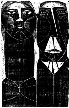 Title unknown by Russian-born, Agentinian artist & printmaker Américo Balán (1915-1986). Woodcut. via fervor del arte argentino