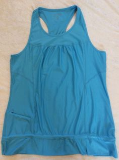 Athleta Fitness Tank Xl Womens Turquoise Mesh Racerback Run Yoga Zipper Pocket #Athleta #ShirtsTops