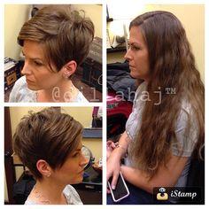 Cute pixie cut - before and after Long To Short Hair, Short Hair Cuts, Sassy Hair, Haircut And Color, Hair Images, Pixie Haircut, Great Hair, Hair Today, Hair Dos