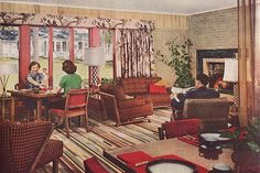 Living - Dining Area c. 1940