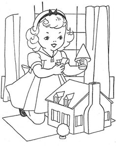 embroidery pattern - girl with dollhouse
