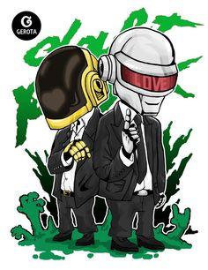 Daft Punk - Chibi Art by Gregory Indrakusuma