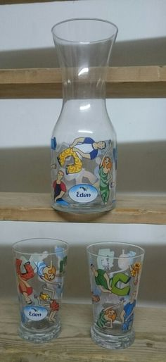 "Vintage Promo Drinking Set (""Mey Eden"" Waters Of Eden): Water Jug & 2 Glasses #MeyEdenWatersOfEdenIsrael"
