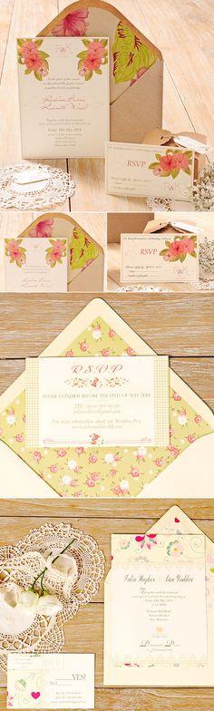 Invitaciones con flores para bodas románticas