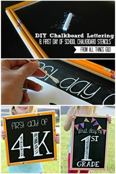 Video tutorial by Dusty Rogers of All Things G&D on how to do chalkboard lettering that looks so good people will think it was your major in college. Includes free first day of school chalkboard sign lettering templates for preschool through high school! #BTS #chalkboardlettering #chalkboardtemplate #chalkboardsign #firstdayofschool #firstdayofschoolsign #firstdayofschoolchalkboardsign