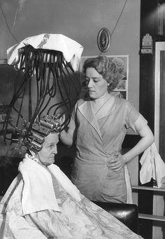 Beauty shop in Long Beach California 1934 (Permanent wave machine)