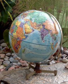 """FREE SHIPPING..Vintage Rare 1960's 12"""" Diameter Replogle Stereo Relief Globe-Made in USA-Mid Century-Office Decor-Mancave"""