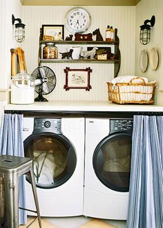 I particularly love the farmhouse fixtures, scotties, old fan, and basket. Not a huge fan of the royal blue.