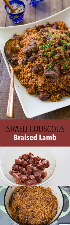 Braised lamb with caramelized onions, raisins and Israeli couscous.