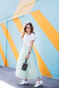 Stylewich by Elizabeth Lee, Fashion Blogger, Outfit Ideas, Style Inspiration, Spring Fashion, Tulle Skirt, Alexander Wang Mini Roxy Bag, Superga Sneakers