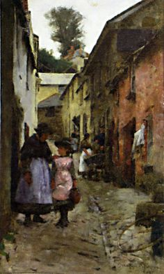 "1885 ~ ""A STreet in Newlyn"" by Alexander Stanhope Forbes RA (1857-1947), Irish-born Artist who was a Founder Member of the Newlyn School of Painters, Cornwall ...."