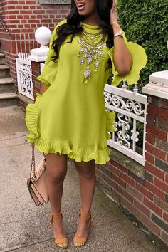 Lovely Sweet Ruffle Design Green Blending Mini Dress We Miss Moda is a leading Women's Clothing Store. Offering the newest Fashion and Trending Styles. African Fashion Dresses, African Dress, Look Fashion, Fashion Outfits, Night Outfits, Dress Fashion, Fashion Ideas, Bohemian Summer Dresses, Ladies Day Dresses