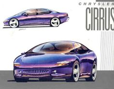 1992 Chrysler Cirrus Concept, I'm a sucker for 90's renders with juicy reflections.