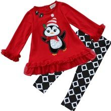 2Pcs Baby Girls Kids Christmas Suit Red Penguin Top Shirt Skirt Plaid Leggings Pants Dress Outfits(China (Mainland))