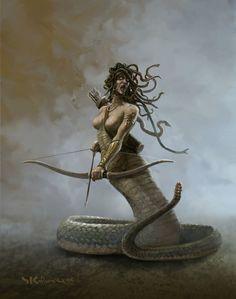 Medusa by Stefan Kopinski on ArtStation Medusa Art, Medusa Gorgon, Medusa Painting, Greek Mythological Creatures, Mythical Creatures, Dark Fantasy Art, Dark Art, Greek Mythology Art, Fantasy Monster
