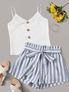 Multicolor Button Detail Cami Top and Paperbag Waist Shorts Set - Summer Outfit Cute Comfy Outfits, Cute Casual Outfits, Cute Girl Outfits, Short Outfits, Pretty Outfits, Stylish Outfits, Cute Summer Outfits For Teens, Cute Summer Tops, Casual Suit