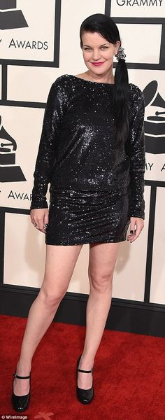 Off the mark: American actress Pauley Perrette wore this shapeless number...