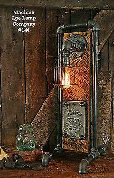 Steampunk Lamp Industrial Machine Steam Gauge Light Train Nautical Loft